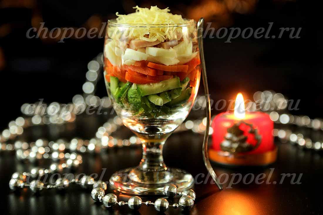 салат коктейль с ветчиной и сыром