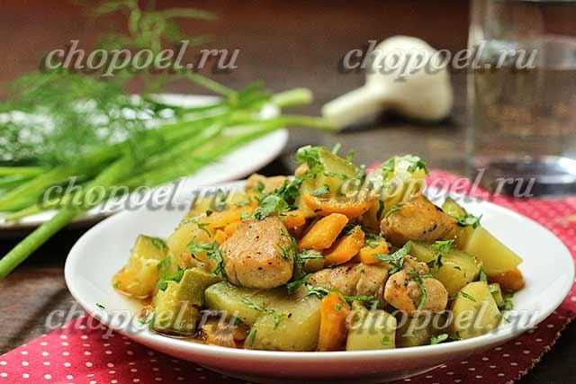рагу из кабачков с курицей рецепт
